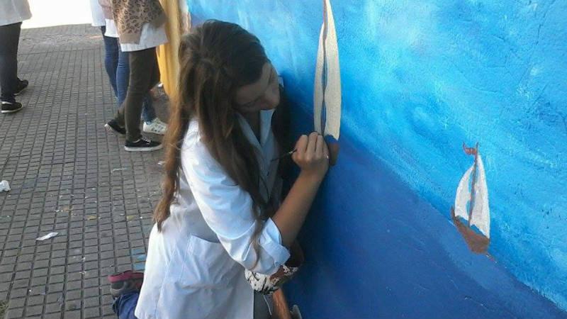 Intervencion Urbana en Paysandu Mural Silvan Fernandez Liceo 1
