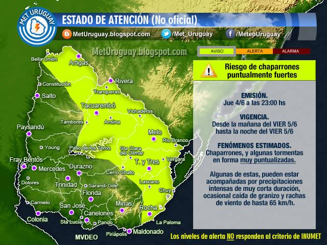 Alerta amarilla no oficial por lluvias en Uruguay