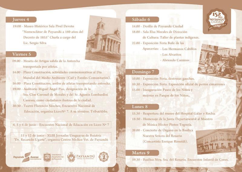 Programa completo de los festejos del Aniversario de Paysandu Ciudad